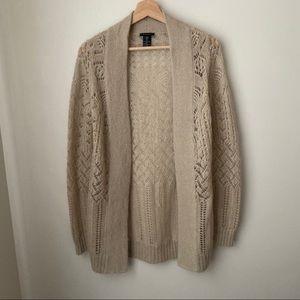 Theory cardigan mohair wool blend open beige